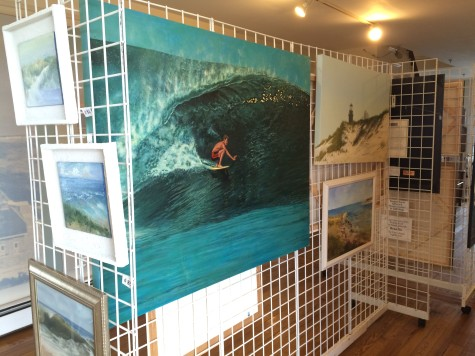 Surfer painting by Anthony D'Avino among others at the art exhibit at Fire Island Lighthouse.